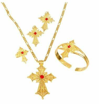 የጆሮ፣ አንገት እና ቀለበት ወርቅ ቅብ መስቀል Ethiopian necklace, earrings and ring set cross