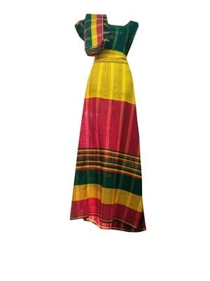 የኢትዮጵያ ባንዲራ ያለው  የሴቶች ረጅም ቀሚስ Ethiopian Women Dress \ Free Size