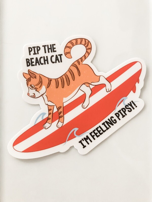 "Pip on Surfboard 4"" Large Sticker"