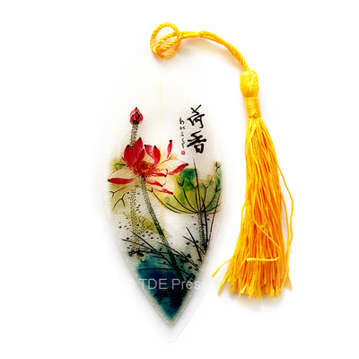 Chinese Ink Lotus Leaf Bookmark With Yellow Tassel