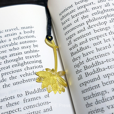Golden Lotus Bookmark With Black String