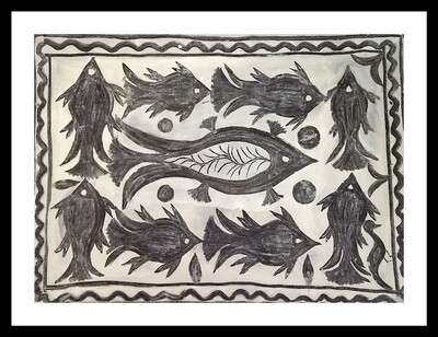 Khovar Painting - Fishes (30x22 in)