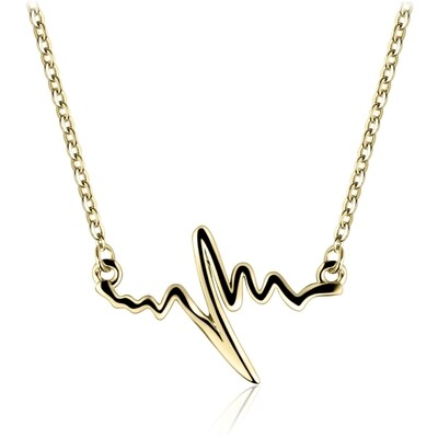 Sterling Silver Heartbeat Necklace with 18-karat Yellow Gold