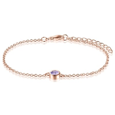 Sterling Silver Bracelet with Natural Pink Amethyst Covered with 18-karat Rose Gold