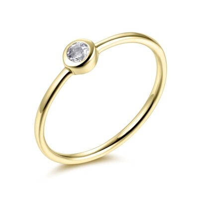 Sterling Silver Ring with Natural White Topaz Covered with 18-karat Yellow Gold