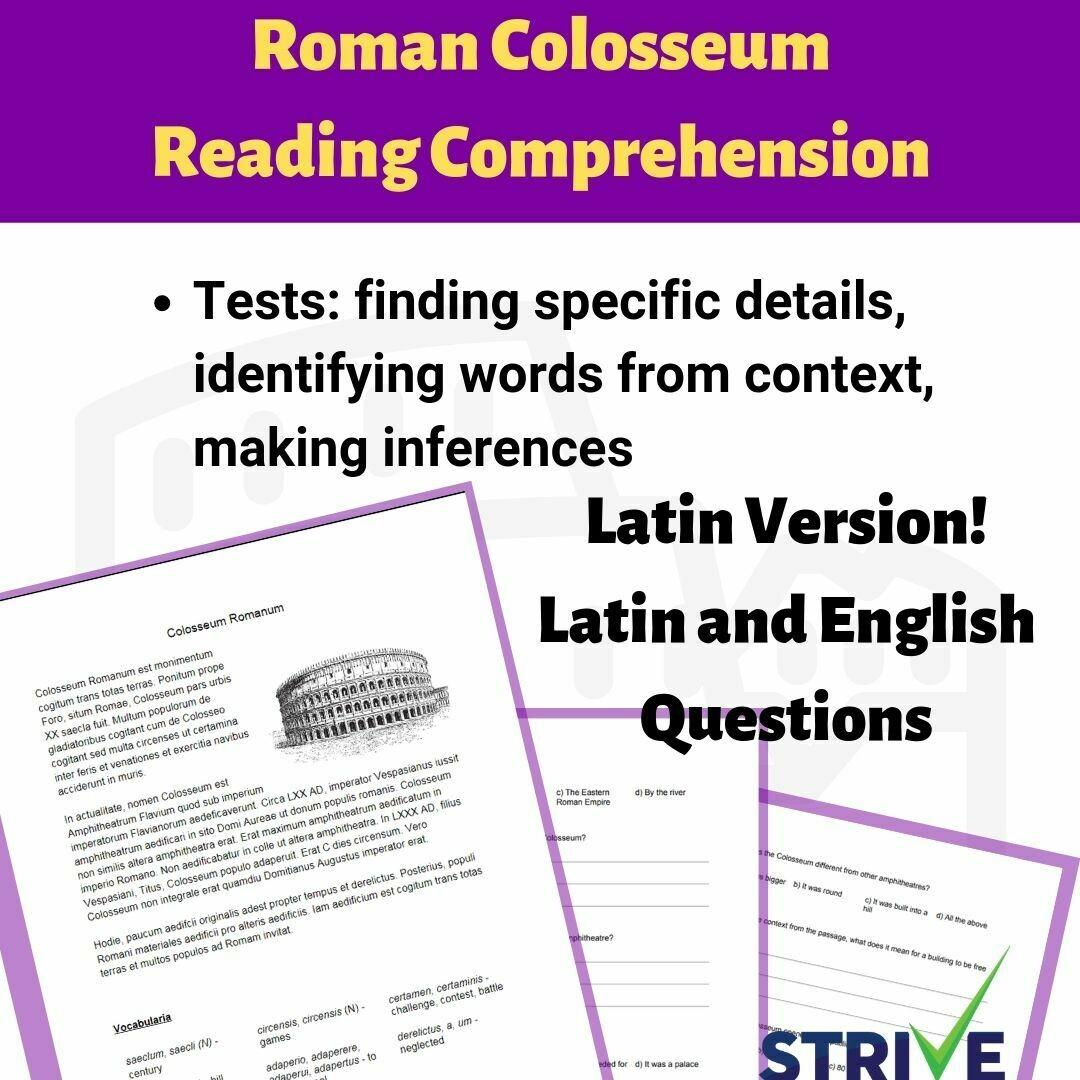 Roman Colosseum Reading Comprehension Latin Versions