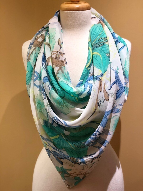 Tropical Chiffon Square Scarf