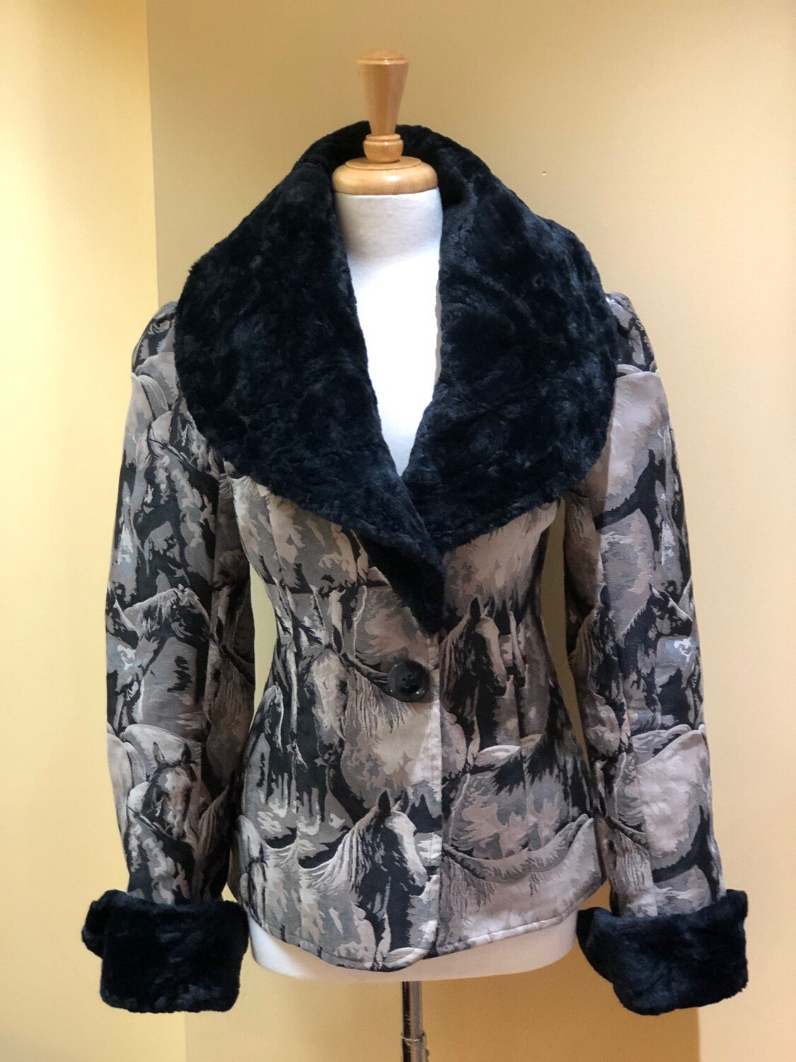 Horse Design Jacket with Faux Fur Chinchilla Collar + Cuffs