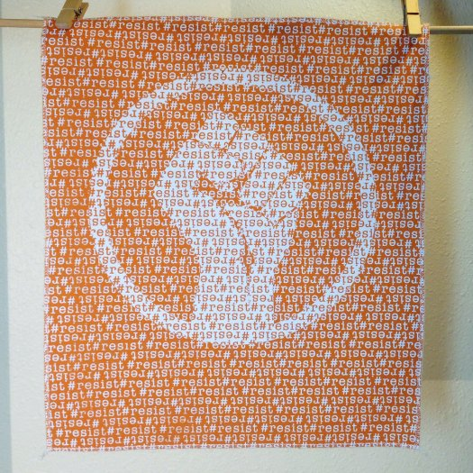 #Resist - Hand Printed Fabric Panel