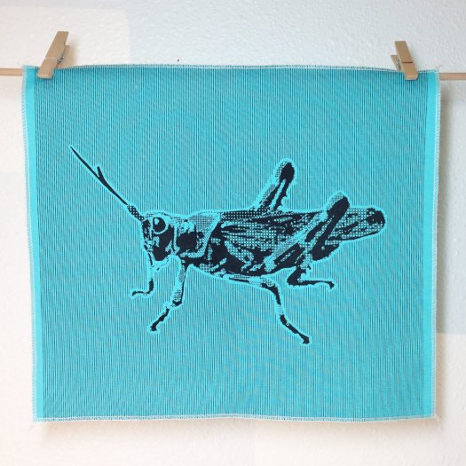 Grasshopper - Hand Printed Fabric Panel FP0013