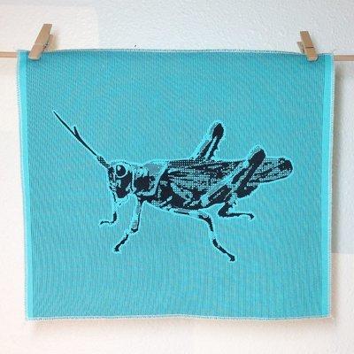 Grasshopper - Hand Printed Fabric Panel