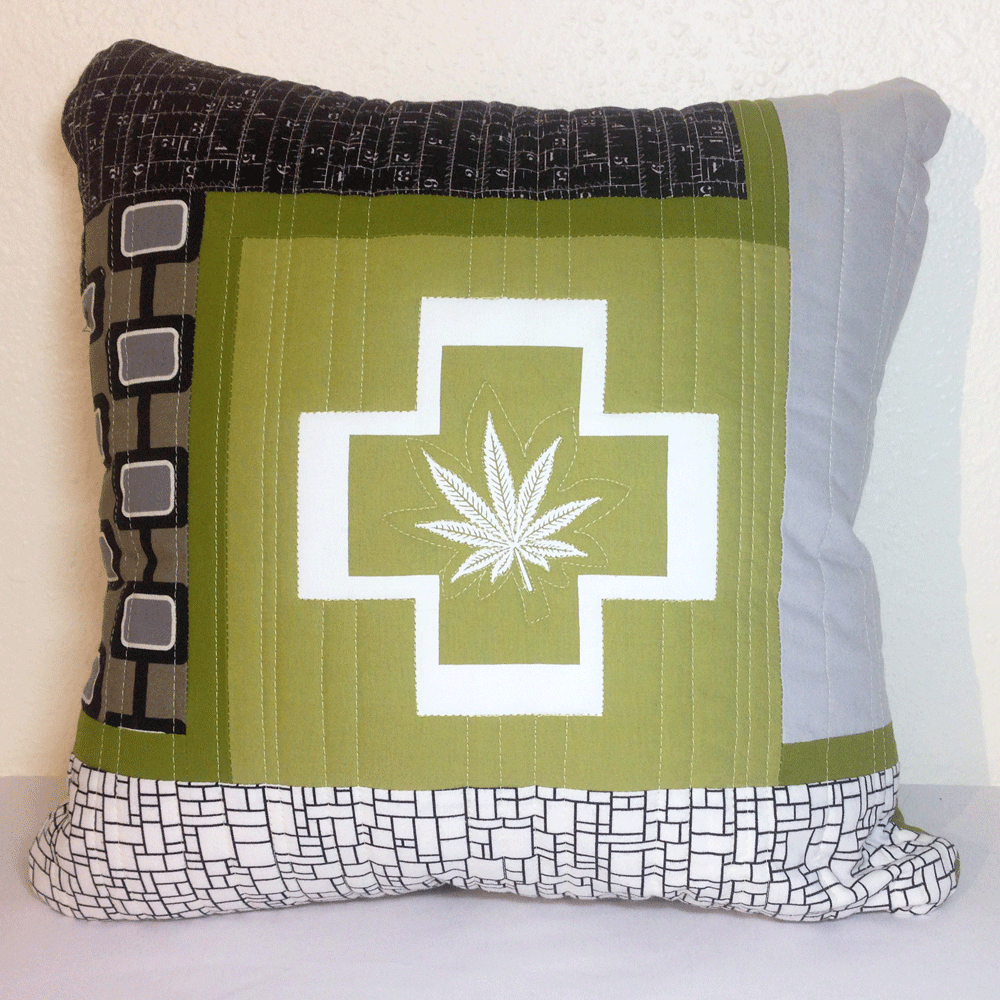 Quilted Cannabis Pillow Cover No.1