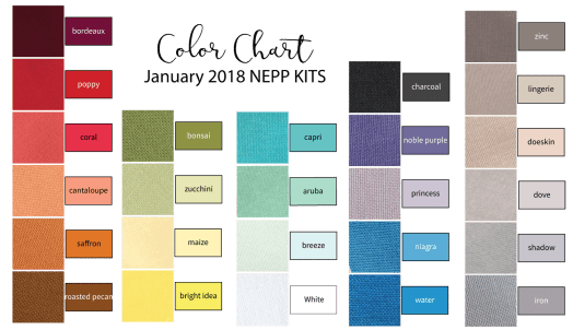 Color Chart for January 2018 NEPP Kits