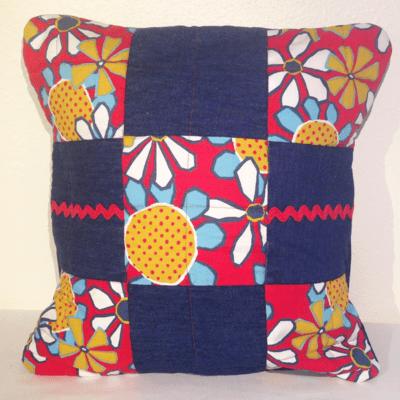 Denim Ric Rack Pillow Cover