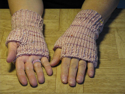 Knit Pink Finger-less Hand Warmers - Size medium