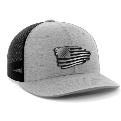 Hat - Black Leather Patch: Tattered Flag