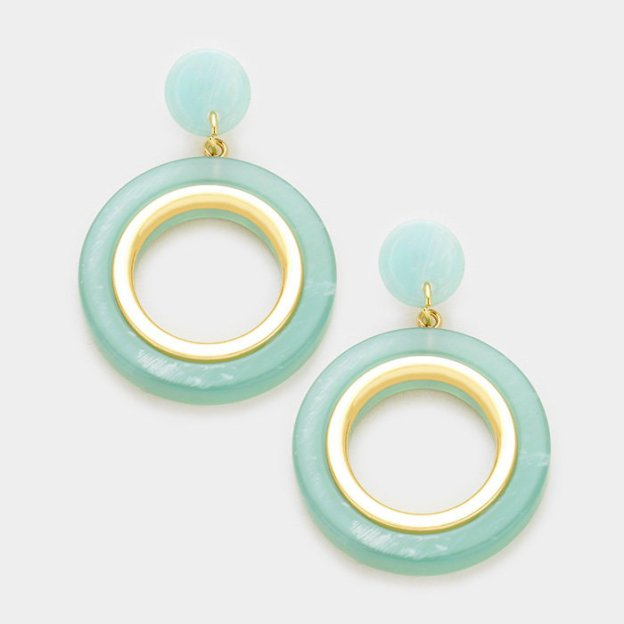 Sea Glass Round Earrings WT-339346