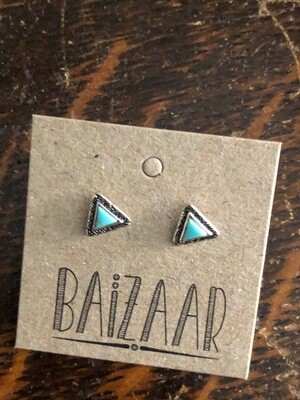 Turquoise & Silver Tiny Triangle Studs