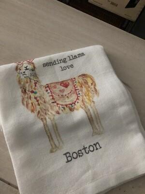 Llama Love Boston Dish Towel