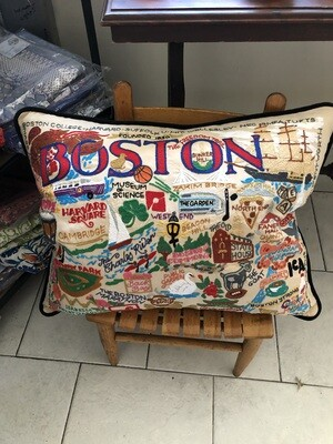 Boston Hand-Embroidered Pillow
