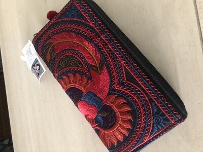 Hmong Flower Wallet - Red