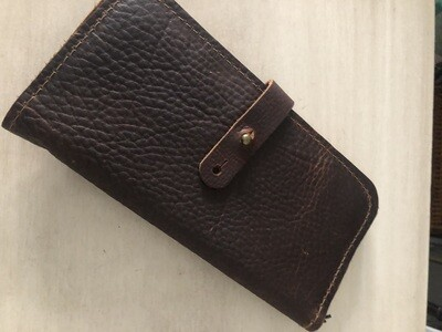 Leather Wallet With Zip Pouch - Dark Brown