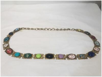 Vintage Multicolor Scarab Chain Belt