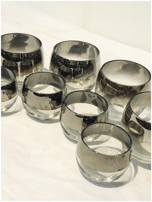 Mid Century Dorothy Thorpe Silver Fade Roly Poly Glasses, set of 8