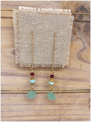 Handmade Ruby & Chalcedony Earrings