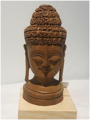 Vintage Wood Buddha Head