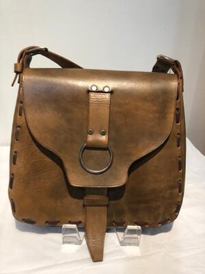 Vintage 1970's Brown Leather Boho Shoulder Saddlebag