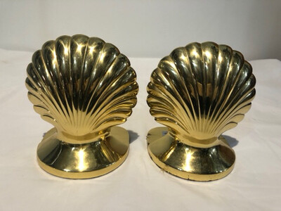 Vintage Pair of Brass Shell Bookends