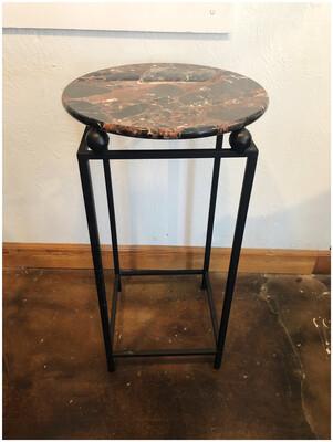 Marble & Iron Pedestal Table