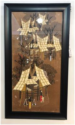 Mid Century 1966 Asian Hut Art Signed Thomas Tehani