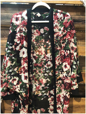 Women's Floral Print Open Lightweight Chiffon Poncho
