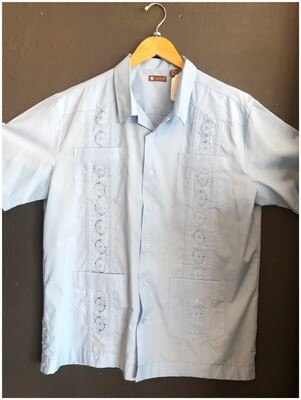 Men's Vintage Guayabera Blue Shirt