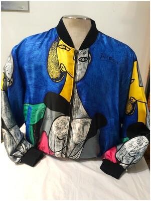Vintage Men's 1990's Pablo Picasso Satin Bomber Jacket