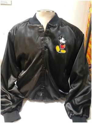 Vintage Men's Large Mickey Mouse Black Satin Jacket