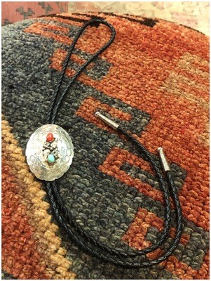 Vintage Turquoise & Red Coral On Sterling Silver Bolo Tie