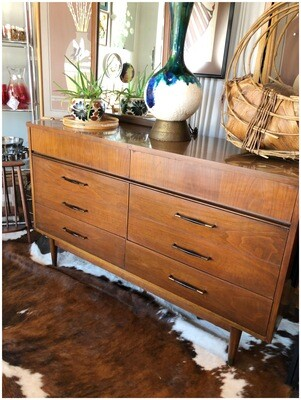 Mid Century Six Drawer Wood With Laminate Top Dresser
