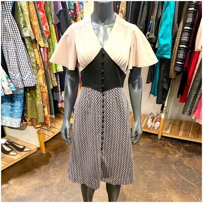 Vintage 1970's Handmade Button Front Dress In A Mod Fabric