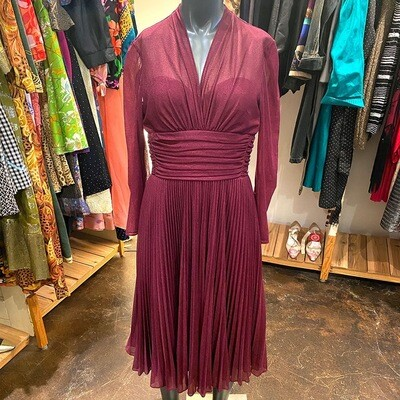 Vintage 1960's Lilli Diamond Of California Pleated And Lined Dress