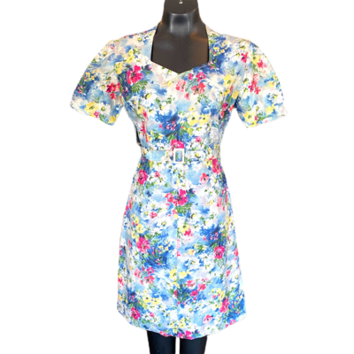 Vintage 1960's Handmade Cotton Dress With Belt And Jacket