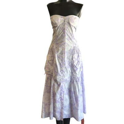 Vintage 1970's Italian Made Tie Dyed Strapless Button Front Boho Dress With Side Pockets