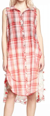 Aratta ombre red plaid tunic