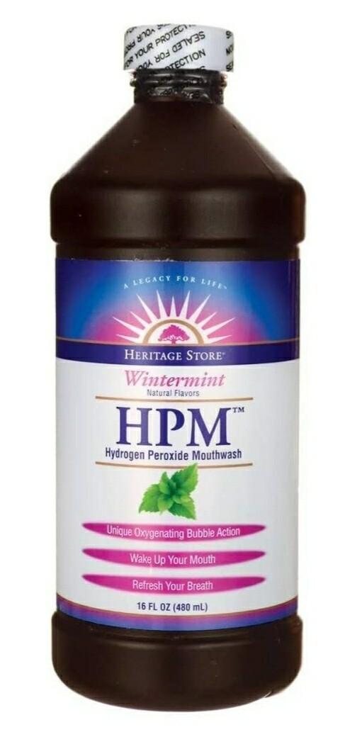 Heritage Store HPM Hydrogen Peroxide Mouthwash Wintermint