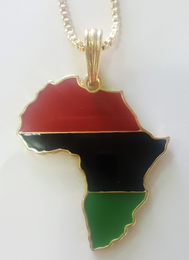 Red, Black & Green Africa Map Necklace
