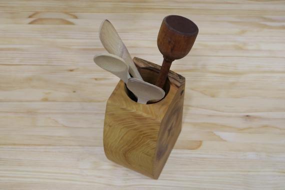 Wood Utensil Holder | Handmade Utensil Organizer | Unique Kitchen Organizer | Utensil Caddy