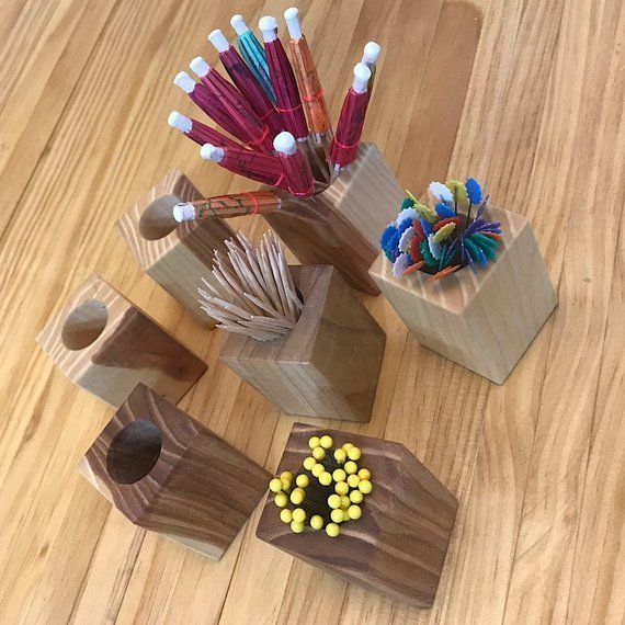 Wooden Toothpick Holder   Toothpick Cup   Drink Umbrella Holder   Pin Cup