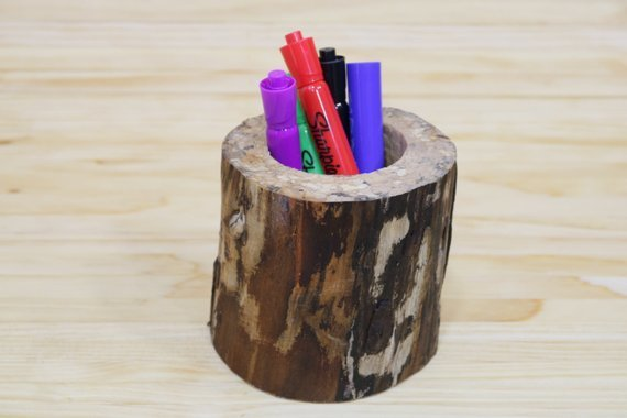Rustic Wooden Pencil Holder | Wooden Pen Holder | Wooden Organizer | Crochet Hook Holder | Pencil Cup | Marker Holder